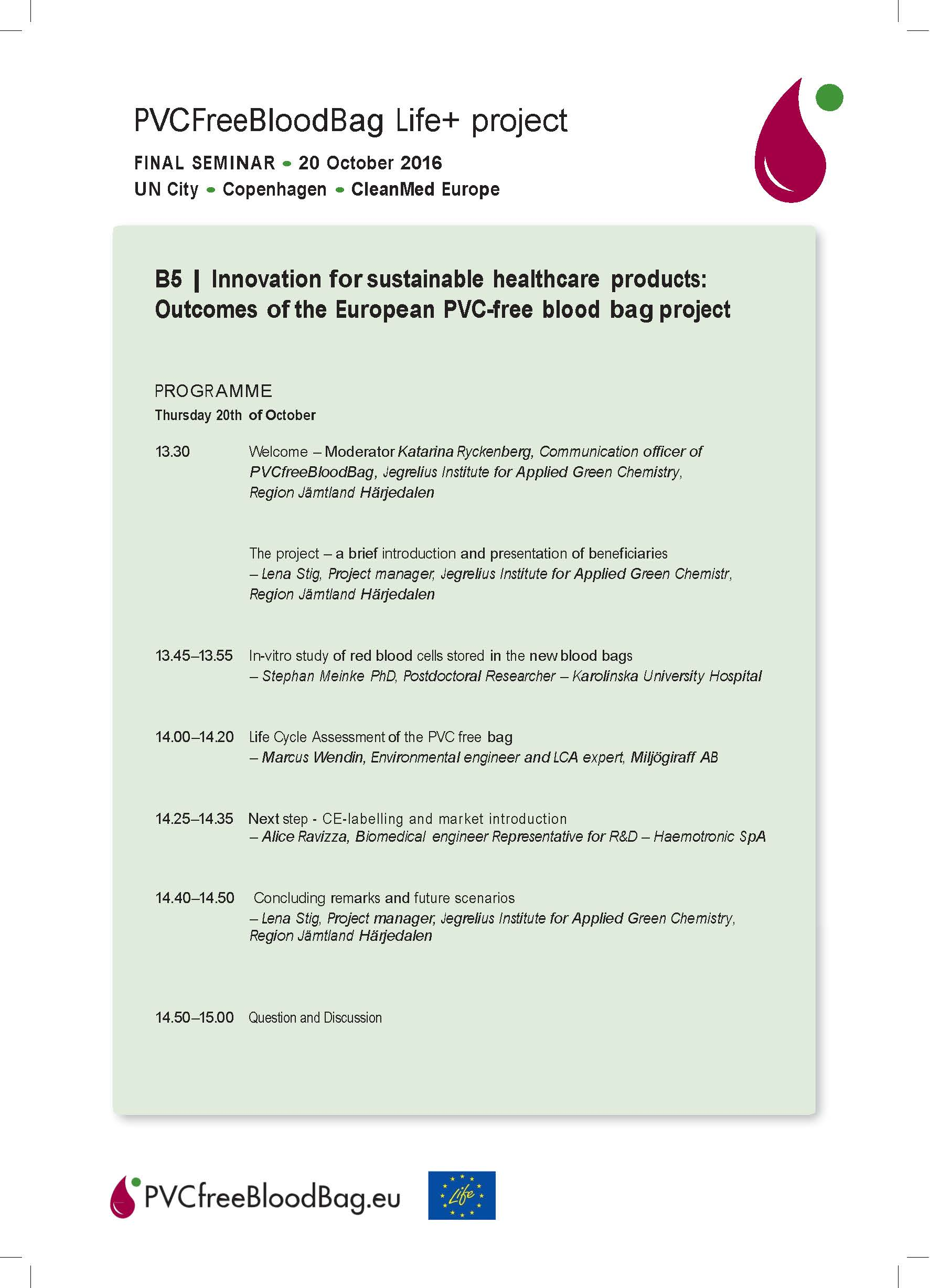 Program and Speakers list – Final Seminar – Copenhagen 20